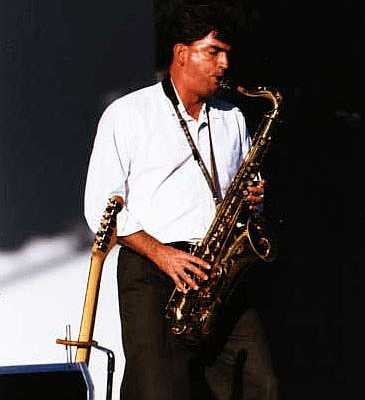 Mark Belshaw of the Joe Sharino Band on saxophone